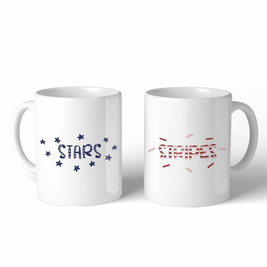 Stars And Stripes BFF Matching Gift Coffee Mugs 11 Oz Coffee Lovers - $24.99