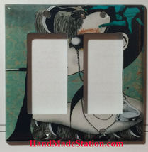 Artist Smoking Lady Light Switch Power Duplex Outlet Wall Cover Plate Home decor image 3