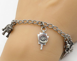 925 Sterling Silver - Vintage College Themed Charms Detail Bracelet - B2938 - $86.84