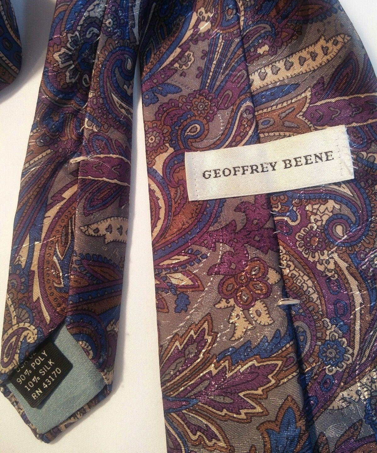 Geoffrey Beene Mens 3 Ties + CashMe Green Plaid Acrylic Scarf Handmade Silk Tie image 7