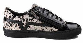 Versace Collection Black Pony Hair Patent Leather Lace Zip-Up Fashion Sneaker NW image 4
