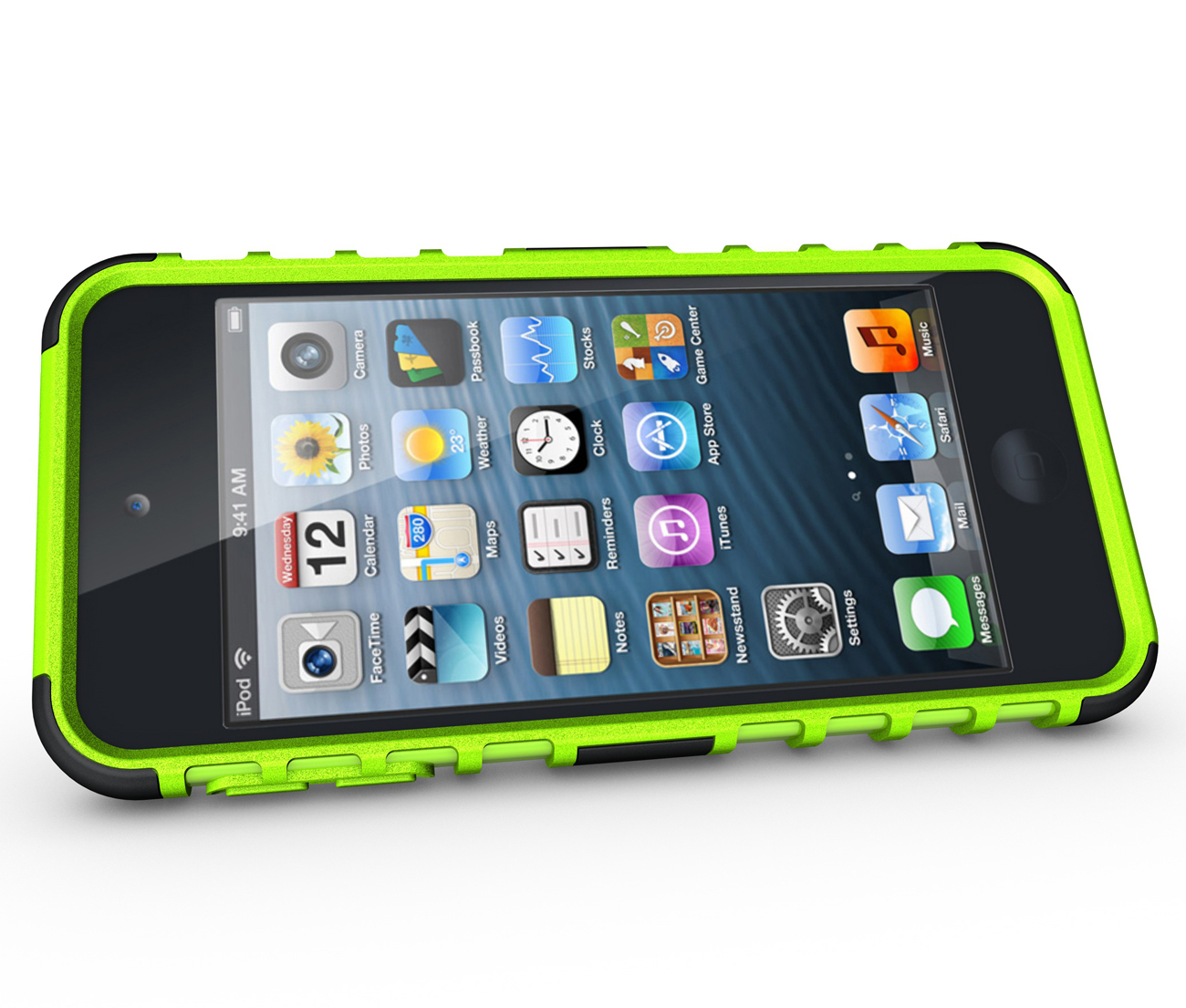 Hard & Soft Rubber Hybrid Case Cover For Apple iPod Touch 6th Gen - Green