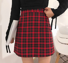 Red and Black Plaid Skirt Women Girl Plaid Skirt-School Mini Red Plaid Skirt image 1