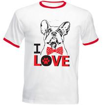 I Love Boston Terrier 2 - New Red Ringer Cotton Tshirt - $27.19