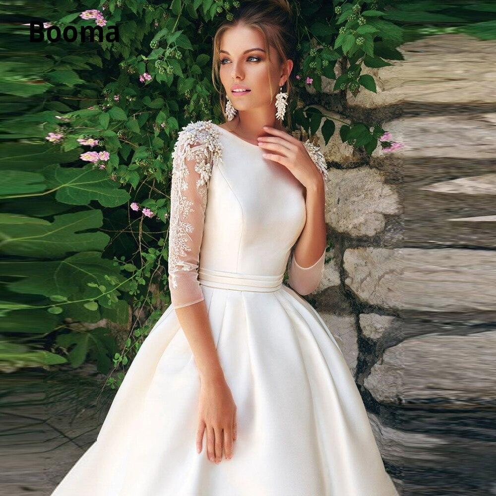 Booma 3 4 sleeves satin a line wedding dresses lace appliques beading with pleat belt sweep