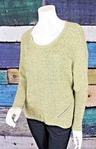 Anthropologie XS Moth Neon Green Gray Cotton Cashmere Oversized Sweater - $29.69