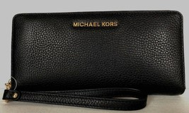 New Michael Kors Jet Set Travel Continental wallet Leather Black with Gold - $88.00