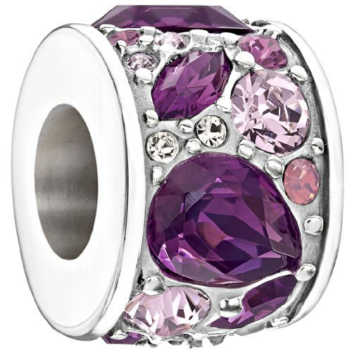 "Authentic Chamilia Charm ""Mosaic"" Purple Swarovski 2025-0926"