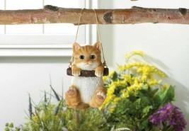 Orange Tabby Kitty Cat on Log Swing Hanging Figurine Indoor/Garden Patio... - $25.49