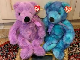 "Ty Classic Lilacbeary Bluebeary Plush Stuffed Teddy Bears 1999 Lot 2 15"" New - $18.00"