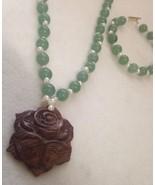 Jade Pearl Flower Pendant Necklace Bracelet Set - $37.39