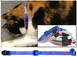 Personalized Embroidered CAT RHINESTONE Safety Collars - 5 Colors To Cho... - $14.99