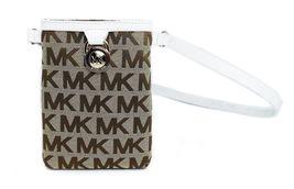 Michael Kors MK Women's Cut Out Leather Canvas Purse Belt Fanny Pack Bag 551501 image 10