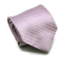 Tommy Hilfiger Mens 100% Silk Neck Tie Lavender Purple White Stripes Ret... - $17.72