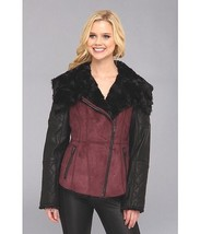 Jessica Simpson Faux Shearling and Faux Leather Moto Jacket Womens Burgundy S - $93.59