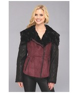 Jessica Simpson Faux Shearling and Faux Leather Moto Jacket Womens Burgu... - $93.59