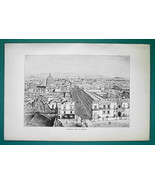MEXICO CITY General View - 1891 Antique Print Engraving - $20.25