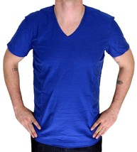 NEW DIESEL MEN'S PREMIUM COTTON GRAPHIC TOSSIK V-NECK T-SHIRT COBALT BLUE