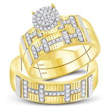 10k Yellow Gold His & Her Round Diamond Cluster Matching Bridal Wedding Ring Set - $738.00