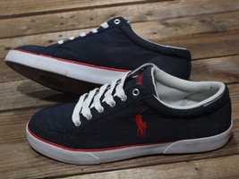 RALPH LAUREN POLO Navy Canvas Sneaker /Tennis/ Boat/ Deck Shoe w Insignia - $7.19