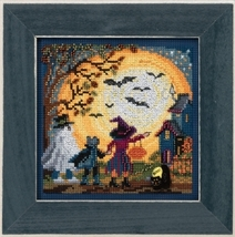 Moonlit Treaters 2017 Autumn Series Buttons and Beads cross stitch kit  Mill Hil - $12.60