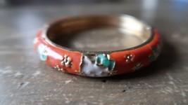 """Orange Enamel Cat Bangle Bracelet 2"""" Inner Diameter by Cheng Xin - $8.71"""