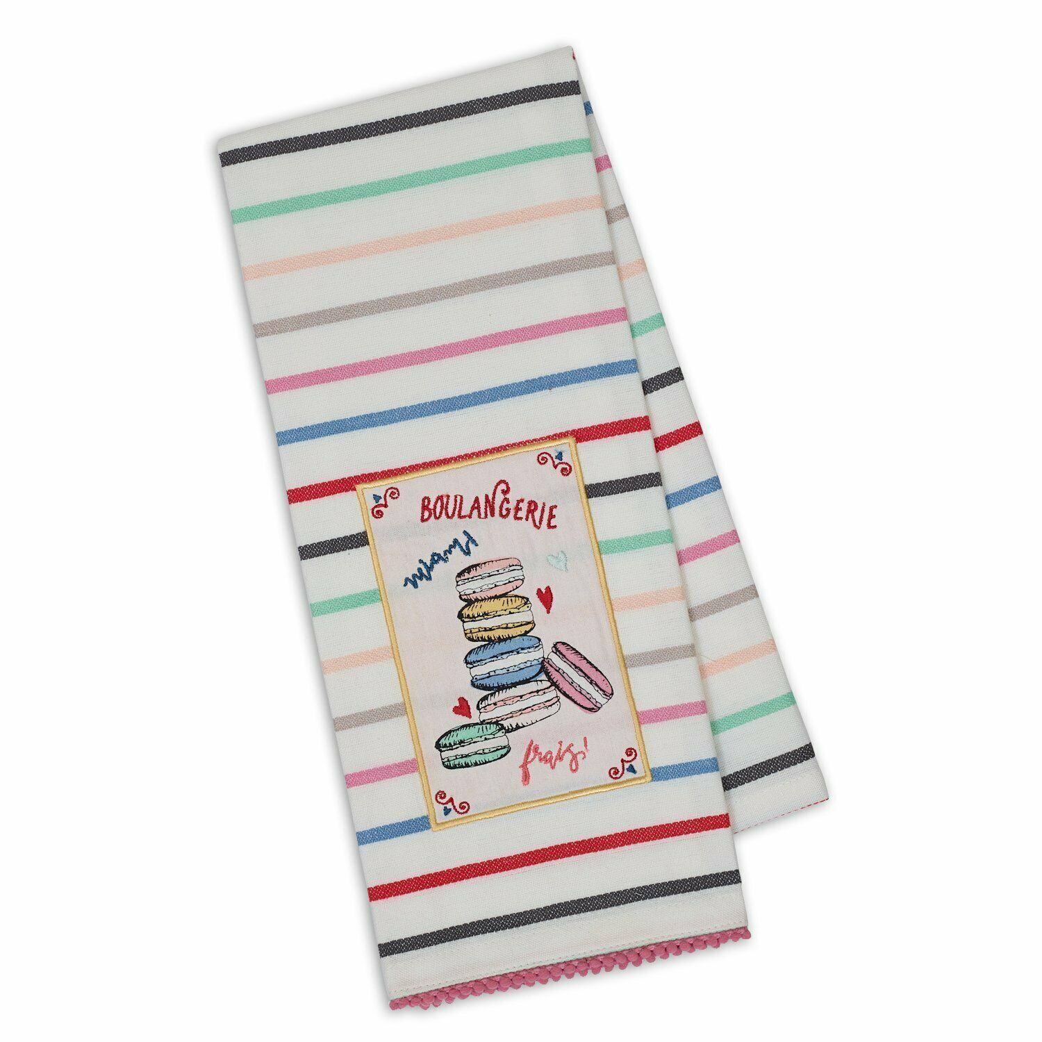 "Primary image for Macaroons Embellished Kitchen Dish Towel New 18"" x 28"" Striped French Macrons"