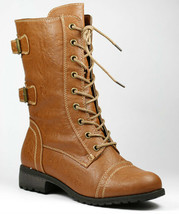 Whisky Brown Faux Leather w Buckle Zipper Lace Up Military Combat Mid Calf Boot - $14.99
