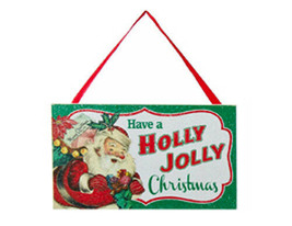 "KURT S. ADLER ""HAVE A HOLLY JOLLY CHRISTMAS"" WOODEN SIGN GLITTER XMAS OR... - $5.88"
