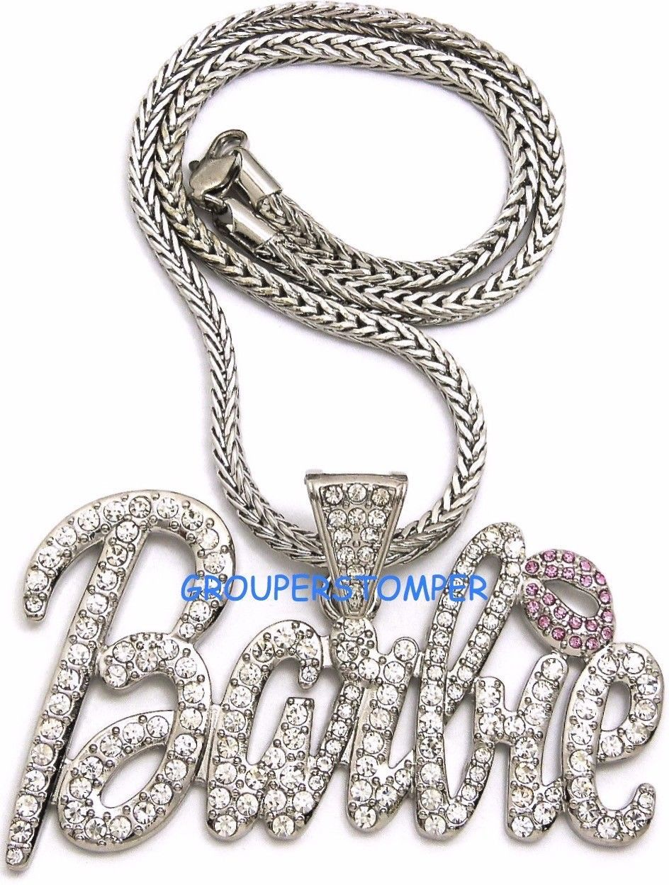 Primary image for Barbie Necklace New Iced Out Pendant Style Chain Assorted Sizes