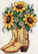 """Design Works Counted Cross Stitch Kit 5""""X7""""-Cowboy Boots (14 Count) - $13.15"""