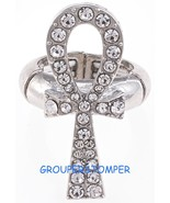 Ankh Spiritual Crystal Rhinestone Ring With Stretch Band Positive Power - $17.44