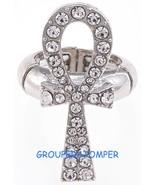 Ankh Spiritual Crystal Rhinestone Ring With Stretch Band Positive Power - $15.98