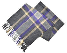 Brooks Brothers Mens Grey and Purple Plaid Cashmere Rectangle Scarf 8219-2 - $129.58