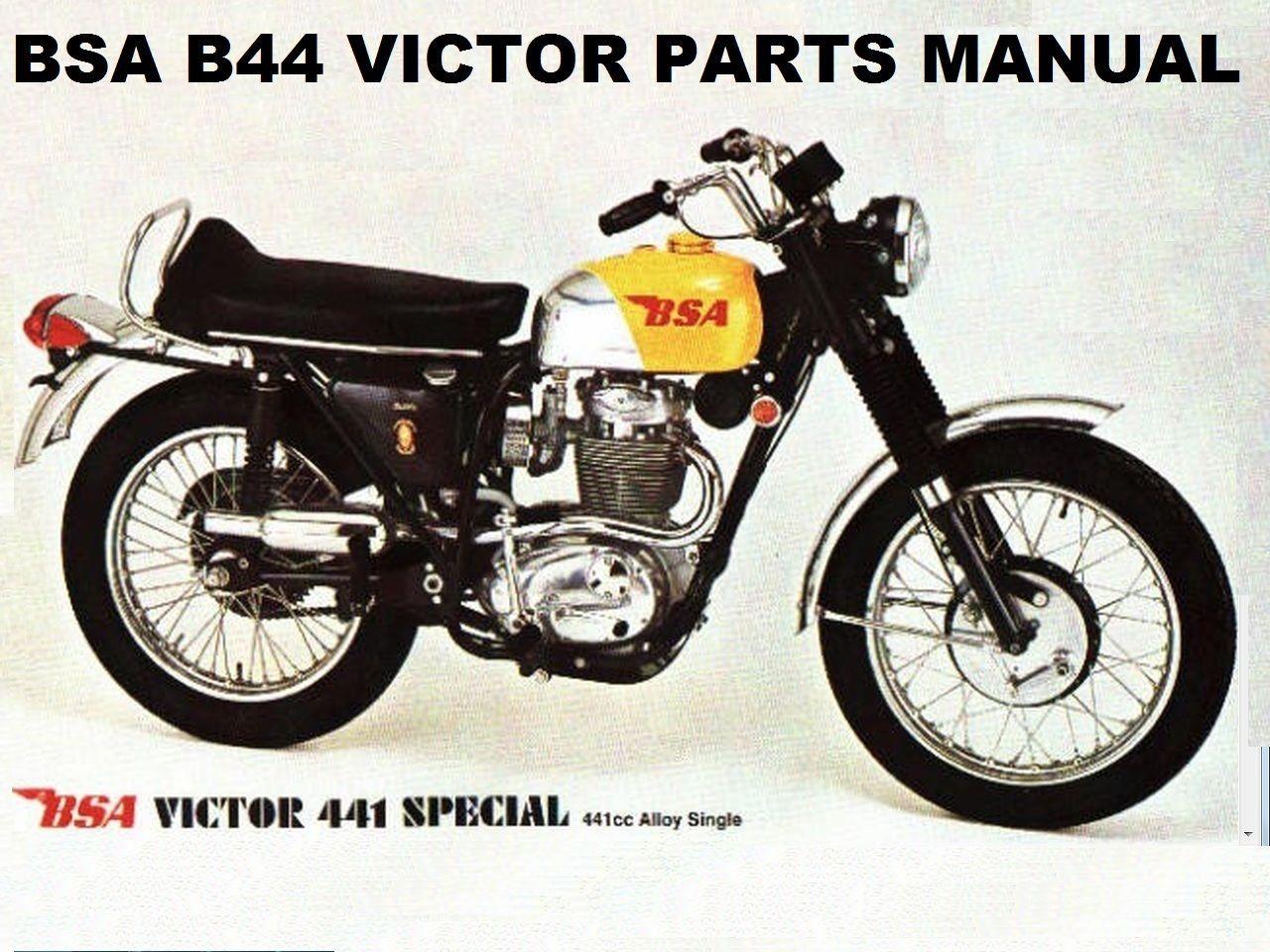 BSA B44 VICTOR SPECIAL PARTS MANUAL w/ B-44 Motorcycle Service & Repair  Diagrams