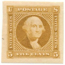 115-E2c 5c Washington plate essay in Buff on wove paper, OG, 1869, Imper... - $109.00