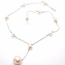 Halskette Weiß Gold 750 18K, Perlen Weiß & Rosa 16 mm, Anhänger Kette Veneta image 1