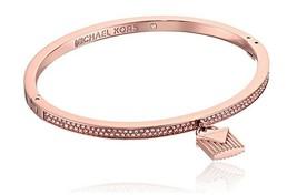 Michael Kors MKJ6996791 Rose Gold-Tone Hinge Bracelet with Pave & Lock C... - $77.75