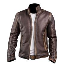Men's Biker Cafe Racer Vintage Motorcycle Distressed Brown Leather Jacket - $99.99