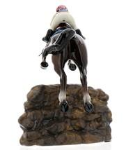 Hagen-Renaker Specialties Ceramic Horse Figurine Girl Show Jumping a Rock Wall image 5