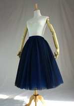 Women's Tea Length Tulle Skirt Navy Tulle Skirts Navy Blue Polka dot Puffy Tutu image 5