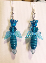 blue fairy queen bead drop earrings dangle wood glass beaded handmade je... - $6.99