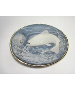 Vintage Genuine Incolay Stone Fish Belt Buckle Gold Tone Blue White C1785 - $18.30