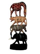 Hand Carved Wooden Animals African Statue Art Piece Home Decor Kenyan Sc... - $56.84