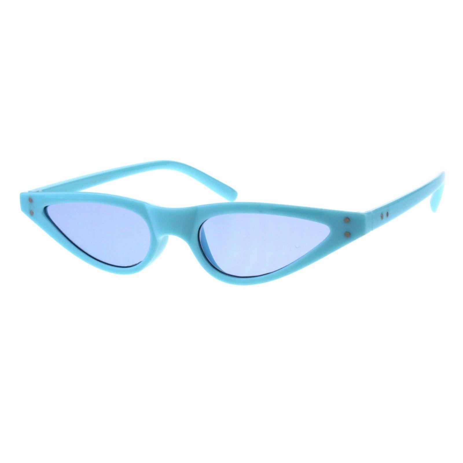 Womens Sunglasses Trendy Skinny Small Flat Cateye Oval Frame UV 400
