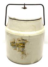 "Vintage 10 lb. Storage Glazed Stoneware Crock w/ Locking Lid+Handle 9"" #... - $46.74"