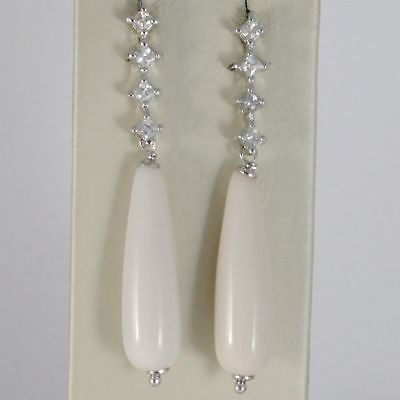 EARRINGS SILVER 925 RHODIUM WITH ZIRCON CUBIC AND DROPS OF RESIN BEIGE