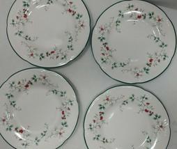 4 Pfaltzgraff Winterberry Salad Plate Christmas Winter Holly Berry Stoneware - $37.99