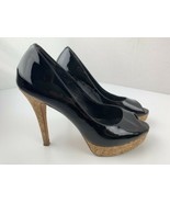 Cole Haan Nikeair Cork Wedge Black Open Toe High Heels Women's Shoe Size... - $24.74