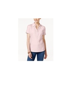 Karen Scott NEW Women's Casual Short Sleeve Polo Top Blush Pink Textured... - $8.16
